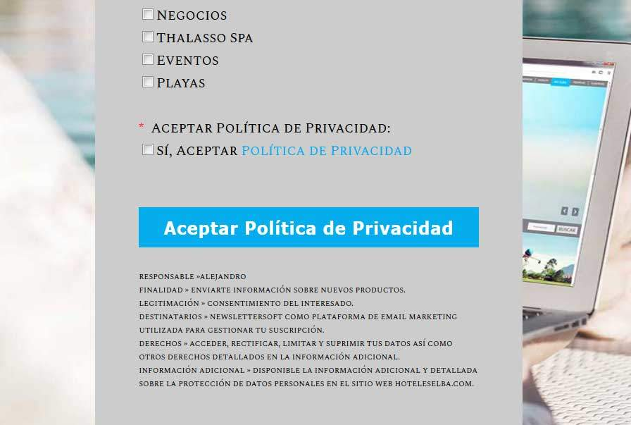 Texto legal responsable formulario captación de datos